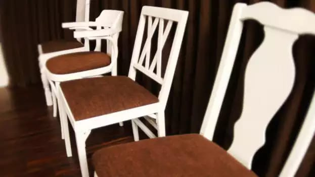 Recover fabric kitchen chairs at home