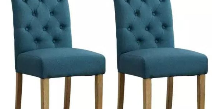 Solid Wood Tufted Parson Fabric Dining Chair