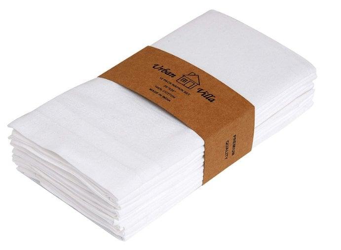 urban villa white cotton 12 dinner napkins