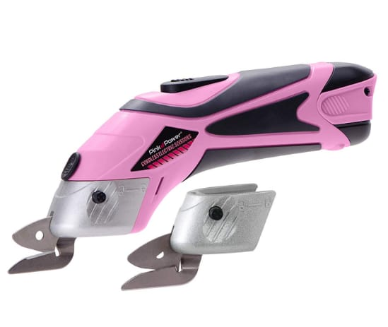 pink power electric scissors for fabric