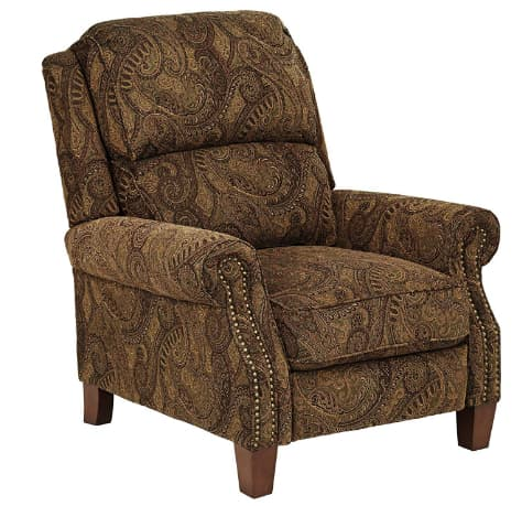 Beaumont Warm Brown Paisley Push-Thru Arm Three-Way Recliner