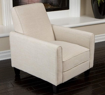 Christopher Knight Home Lucas Sleek Modern Beige Fabric Upholstered Recliner