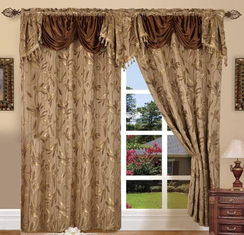 Elegance LinenLuxury Design Jacquard Curtain Set