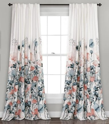 Lush Decor Zuri Flora Curtains Set for Living, Dining, Bedroom