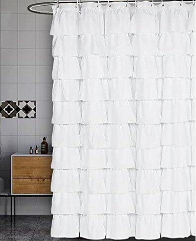 Volens White Shower Curtain for Bathroom