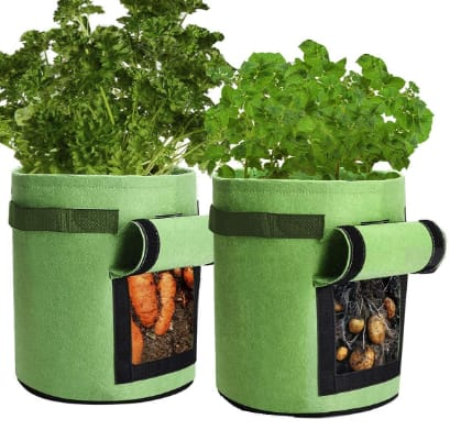 2 Pack Potato Grow Pots, Qaxlry Potatoes Growing Containers with Handles And Access Flap