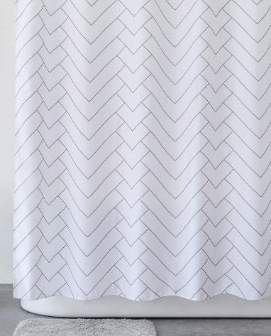 Aimjerry Hotel Quality White Striped Shower Curtain for Bathroom