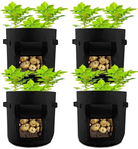 HAHOME 7 Gallon 4 Pack Potato Grow Bags With Handle & Access Flap