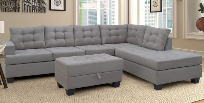 Merax Sectional Sofa With Chaise & Ottoman Three-Piece Sofas