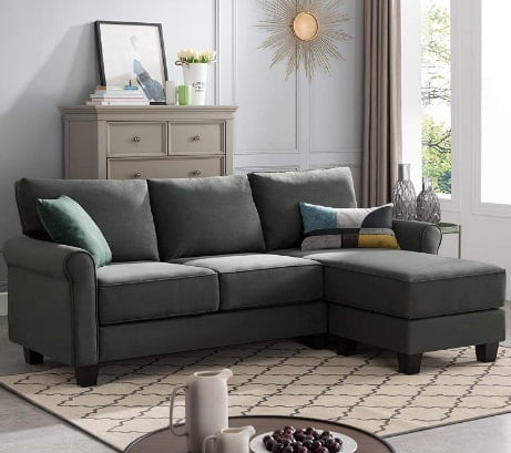 Nolany Reversible Sectional Sofa Couch Perfect For Small Apartment