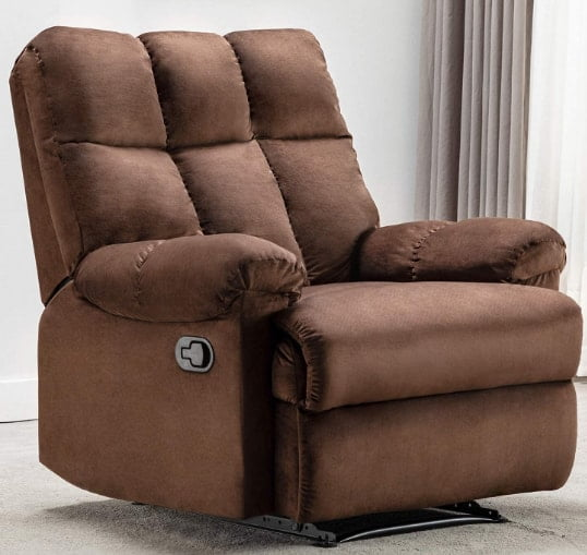 Bonzy Home Overstuffed Heavy Duty Manual Large Man Recliner Chair- Recliners For Heavy Weight