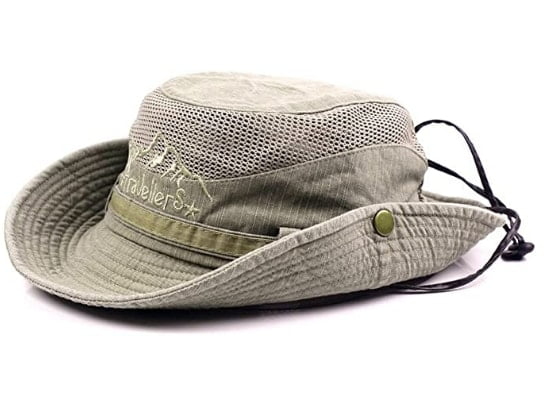 KeepSa Sun Hat For Men, Cotton Embroidery Summer Outdoor Sun Protection Bucket Hat