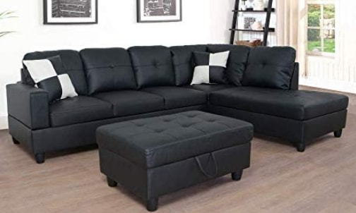 Lifestyle Furniture 3-Piece Black Contemporary Leather Sectional Sofa