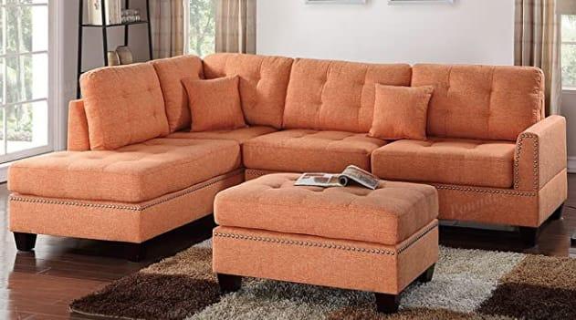 Poundex Bobkona Adolph Upholstered Sectional Sofa