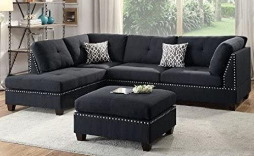 Poundex-Bobkona-Viola Sectional Set Sofa With Ottoman