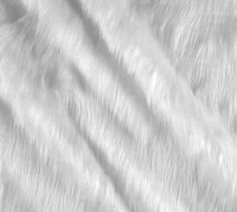Shannon Fabric Faux Fur Shag-White Fabric