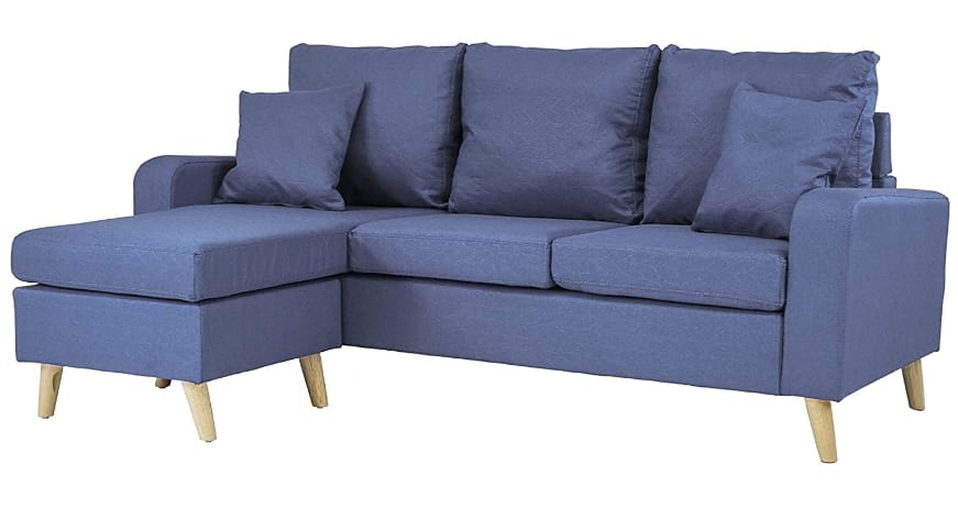 Divano Roma Furniture Modern Small Space Sectional Sofa With Reversible Chaise