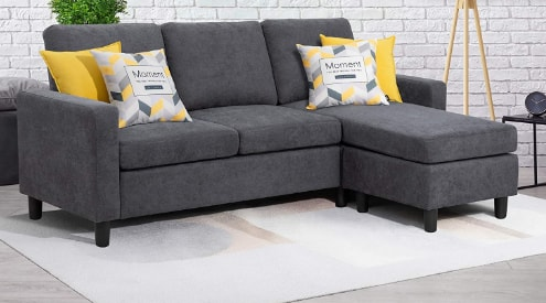 Walsunny Convertible Sectional Sofa With Reversible Chaise, L-Shaped For Small Space