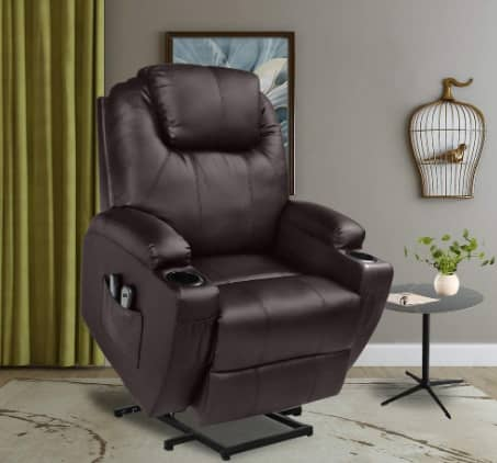 U-MAX Recliner Power Lift Chair, Leather Wall Hugger Recliner with Remote Control