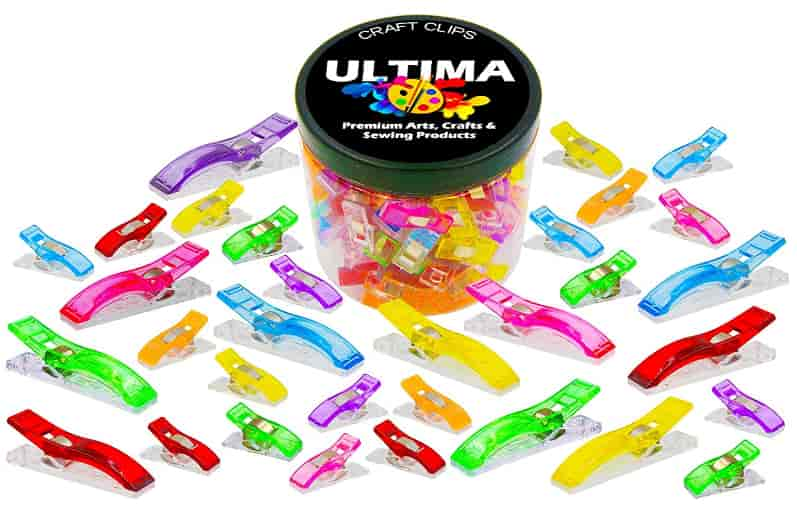 Ultima Craft Clips – 100 Multicolor Plastic Clips For Crafting, Sewing, Quilting, Crocheting & Knitting