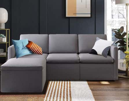 B BAIJIAWEI Convertible Sectional Sofa with Removable Ottoman