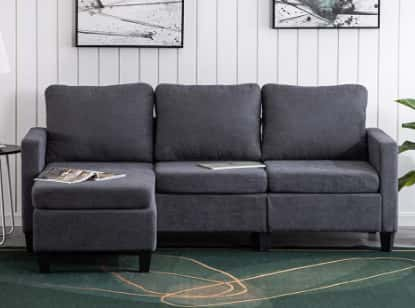 Bonnlo Convertible Sectional Sofa- L Shaped 3-Seater Sectional Sofas