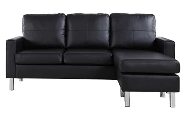 Divano Roma Furniture Modern Bonded Leather Sectional Sofa
