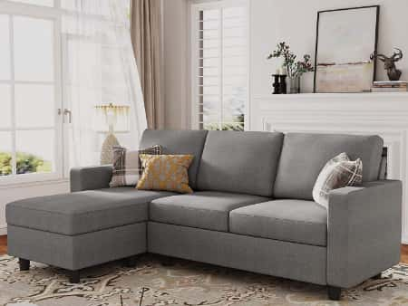 HONBAY Reversible Sectional Sofa- Convertible Sectional L Shape Couch Under 300$