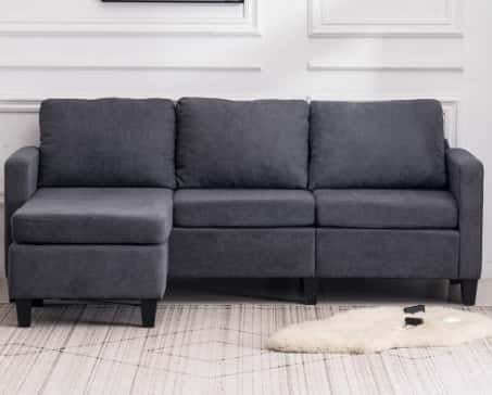 VINGLI Convertible 3-Seater L-Shape Upholstered Sectional Sofa Couch with Reversible Chaise
