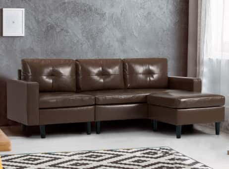 YODOLLA Convertible Sectional Sofa Couch, L-Shaped Brown Sectional Sofa Couch