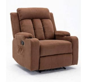 Furnia Brown Microfiber Recliner with Dual Cup Holder