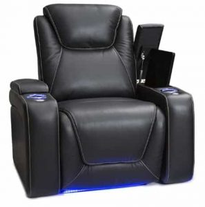 Seatcraft Power Recliner - Black Leather Recliner with Cup Holders and USB